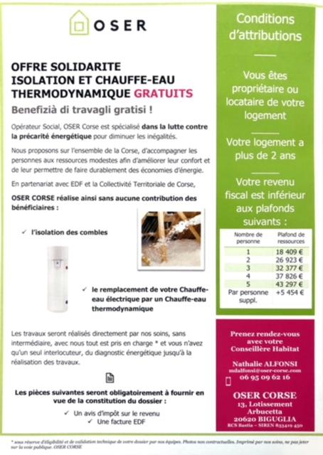 OFFRE SOLIDARITE ISOLATION ET CHAUFFE-EAU THERMODYNAMIQUE GRATUIT